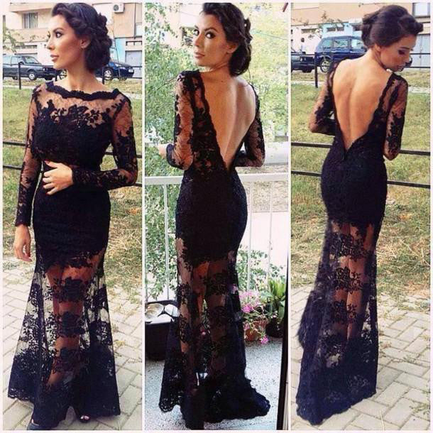 Black Lace Prom Dress Party Gown Deep V Back pst0571
