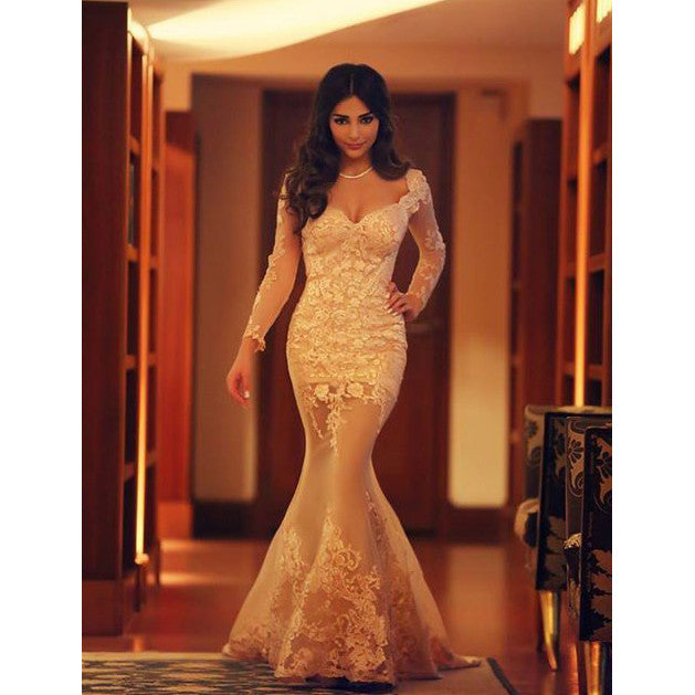 Long Sleeves Evening Party Dress Prom Gown pst0578