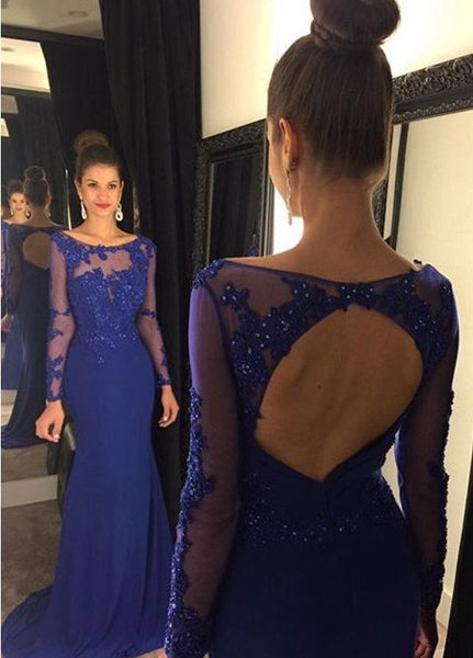 Dress For Prom In Royal Blue Color With Long Sleeves pst0579