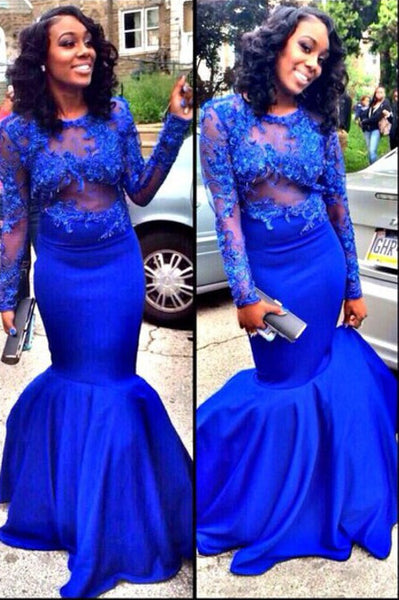 Royal Blue Mermaid Prom Party Dress pst0590