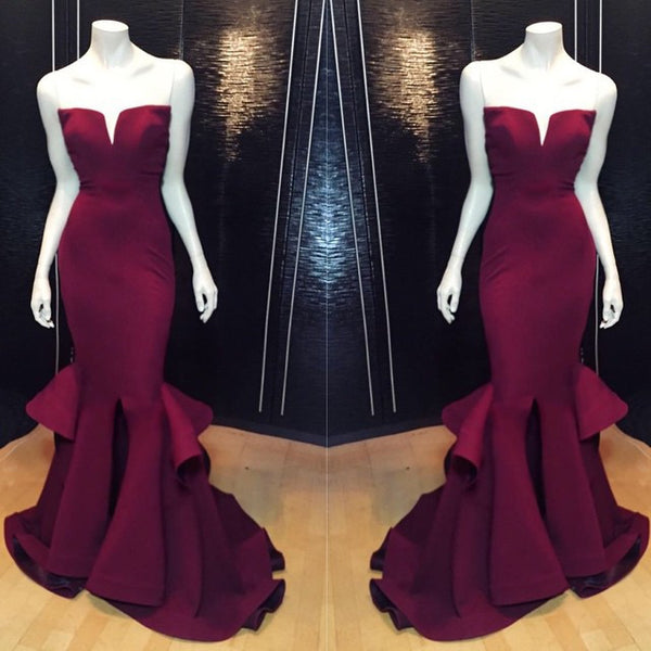 Mermaid Burgundy Prom Dress Evening Party Gown pst0591