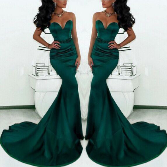 Deep Green Mermaid Cocktail Dress Prom Party Dresses pst0592