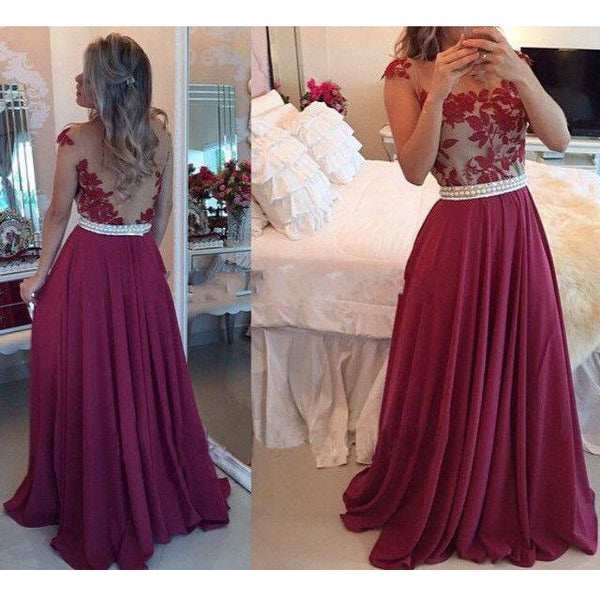 Fashion Prom Dress Illusion Back Prom Dresses Party Gown pst0598