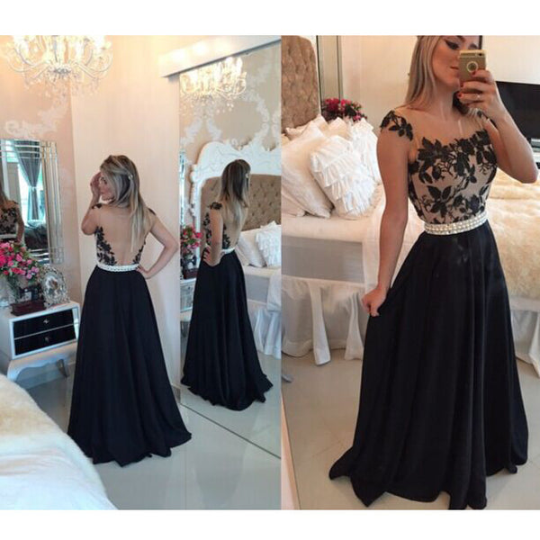 Long Prom Dress with Illusion Back pst0597
