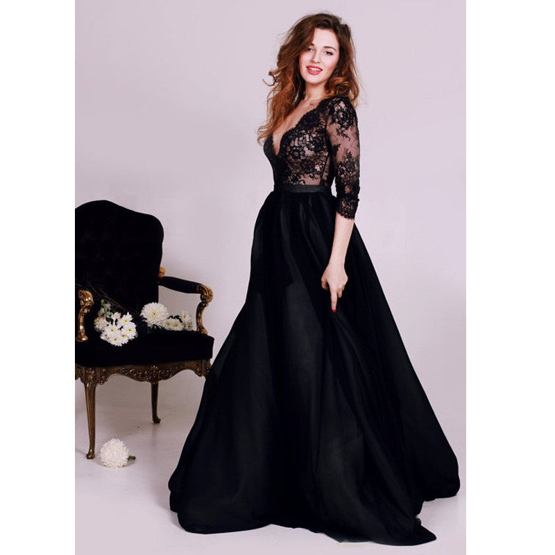 Black Chiffon And Lace Prom Dress Evening Gown With Long Sleeves pst0601