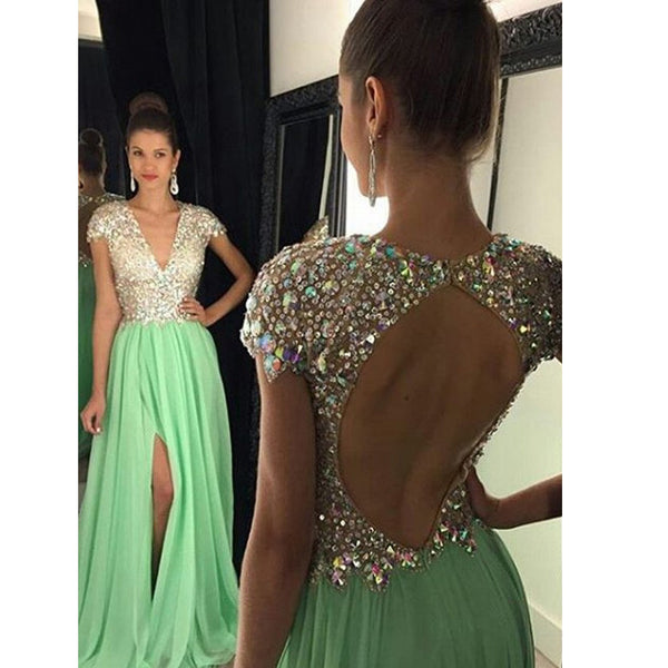 Backless Green Prom Dress Evening Party Dresses With Slit pst0602