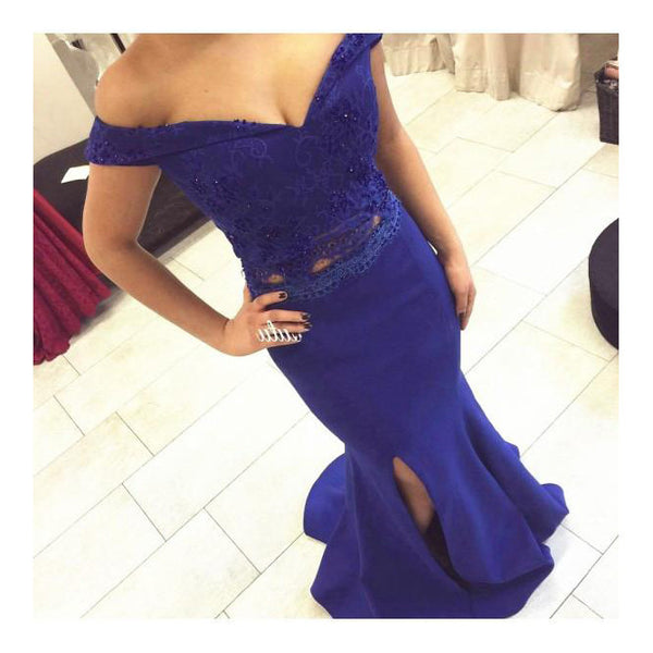 Royal Blue Mermaid Dress For Prom Party Off The Shoulder Straps pst0605