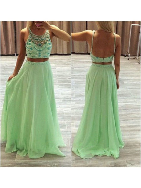 Two Pieces Green Prom Dresses Evening Party Gown pst0617