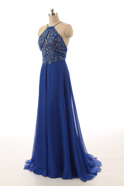 Long Dress For Prom With Halter Neckline pst0626