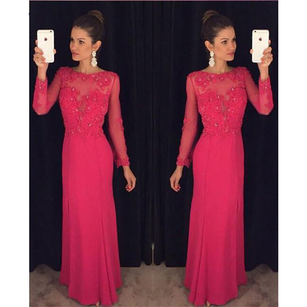 Long Prom Dress Evening Party Dress With Sleeves pst0630
