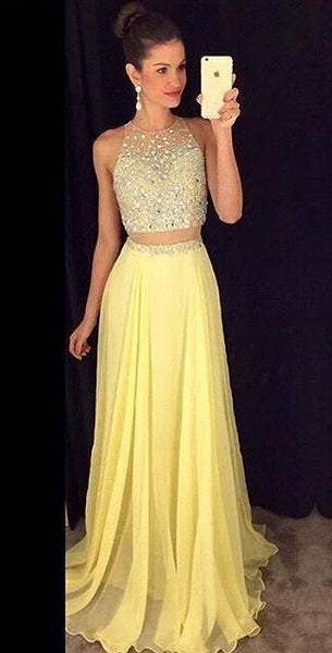 Two Pieces Yellow Prom Dress Evening Party Dress pst0632