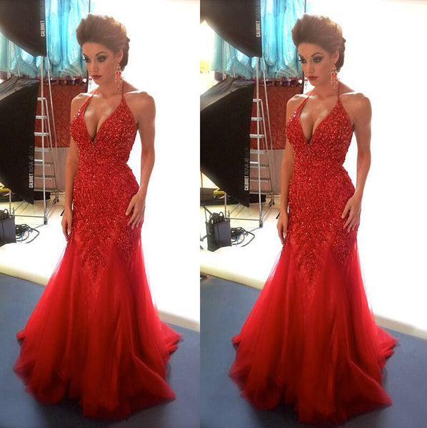 Red Prom Evening Dress With Halter Neckline pst0635