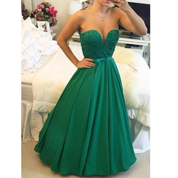 Green Color Sweetheart Prom Dress Evening Party Dress pst0640