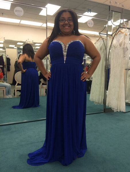 Plus Size Prom Dress Evening Party Dress In Royal Blue pst0641