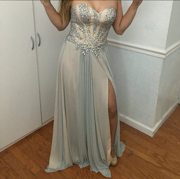 Sweetheart Neckline Prom Dress Evening Party Gown With Slit pst0643