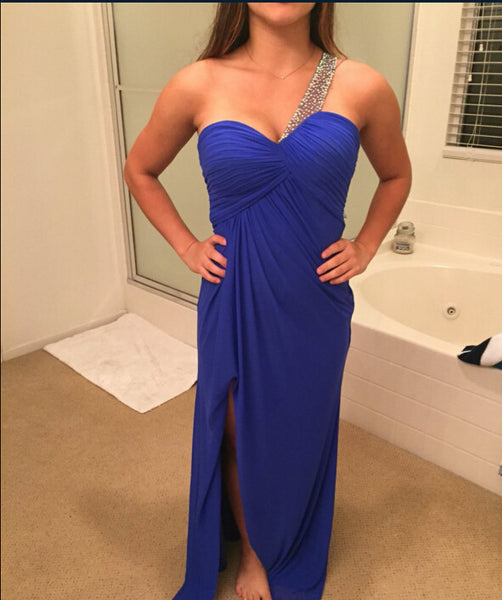 Blue Color Prom Dress Evenin Gown With Slit pst0649