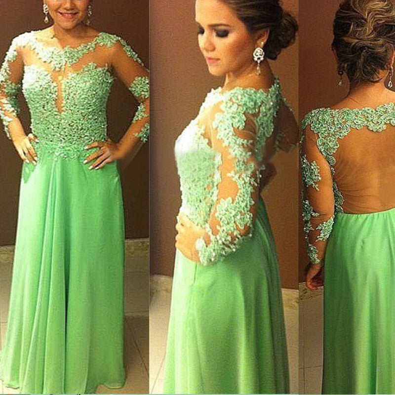Green Prom Dress With Long Sleeves pst0660