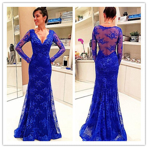 Blue Lace Prom Dress Evening Party Dress With Sleeves pst0662