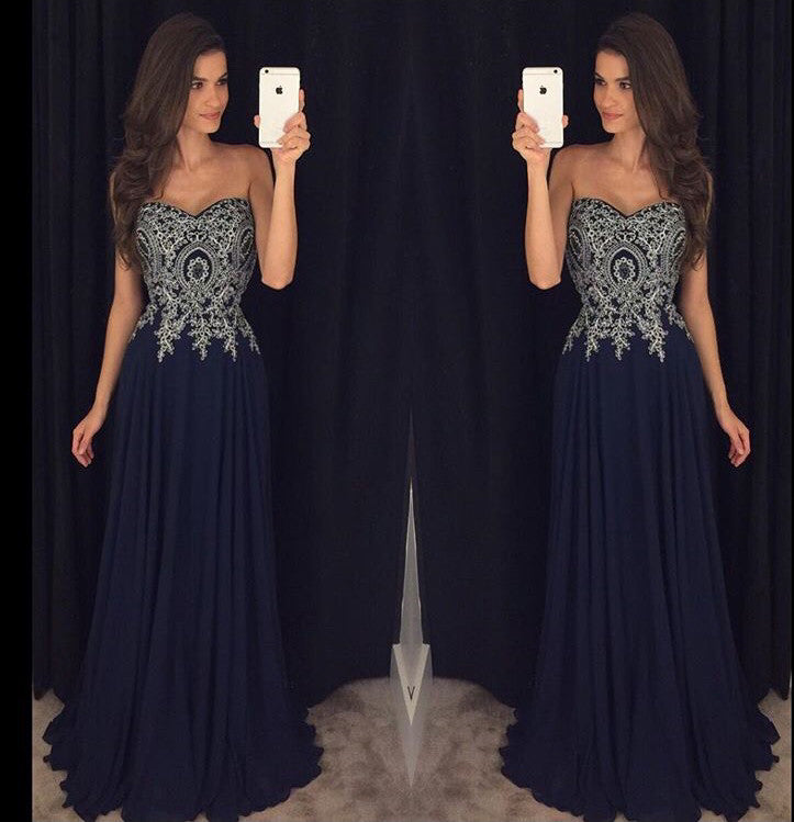 Sweetheart Neck Black Chiffon Prom Dresses Silver Lace Appliqued Formal Dresses pst0681