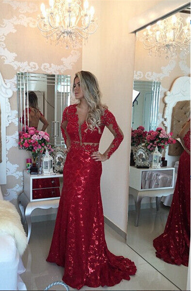 Red Shinning Prom Dress Evening Party Dress With Sleeves pst0683
