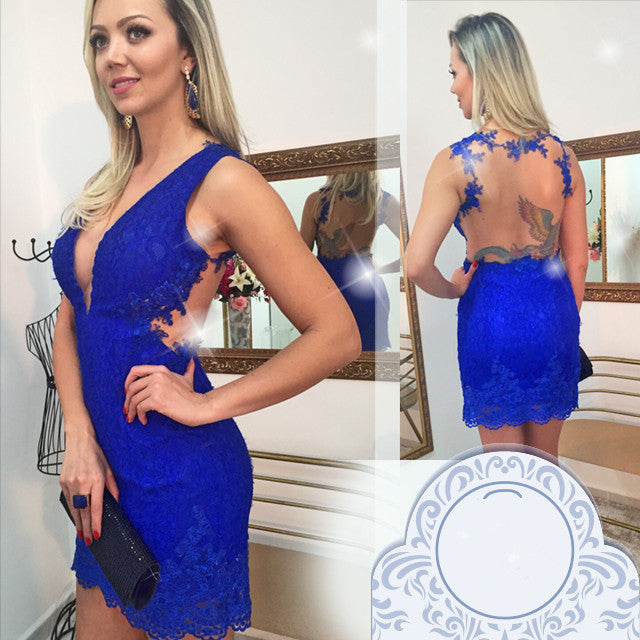 Royal Blue Short Prom Dress Homecoming Dresses pst0684