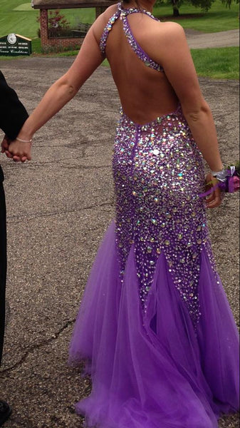 Backless Purple Prom Dress Evening Party Gown With Beading And Stones pst0686
