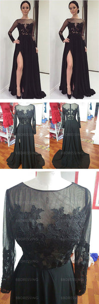 Black Prom Dresses With Slit And Long Sleeves pst0690