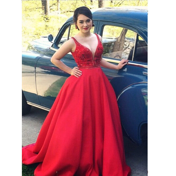 Long Red Prom Dress Ball Gown Party Dresses pst0700
