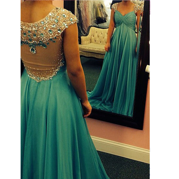 Illusion Back Prom Dress Evening Party Dresses pst0701