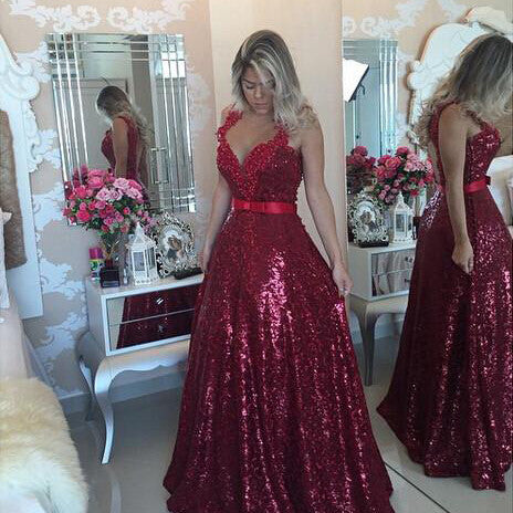 Burgundy Prom Dress Evening Ball Gown Party Dresses pst0703