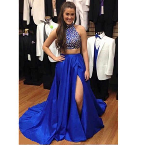 Royal Blue Two Pieces Prom Dress Evening Party Gown pst0711
