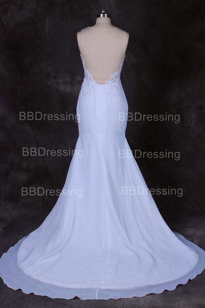 Illusion Back Mermaid Prom Dress White Sexy Evening Party Dresses pst0713