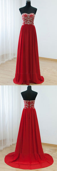 Red Beaded Prom Dress With Stones Strapless Evening Party Dresses pst0714