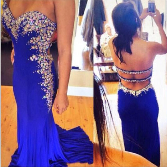 Sexy Royal Blue Prom Dress Evening Party Gown pst0723