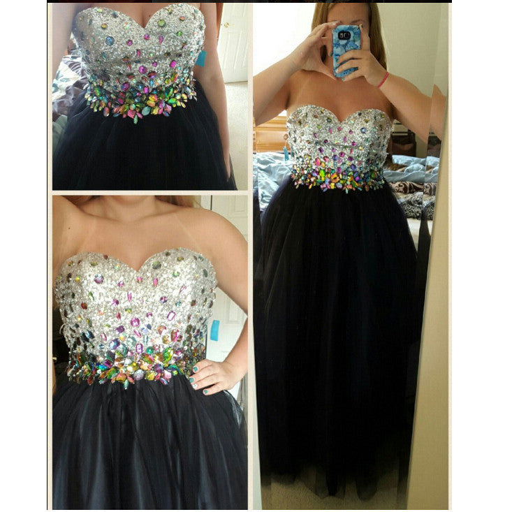 Sweetheart Black Prom Dress Ball Gown Dresses pst0725