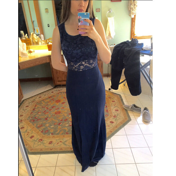 Navy Prom Dress Evening Party Dress Lace And Chiffon pst0729