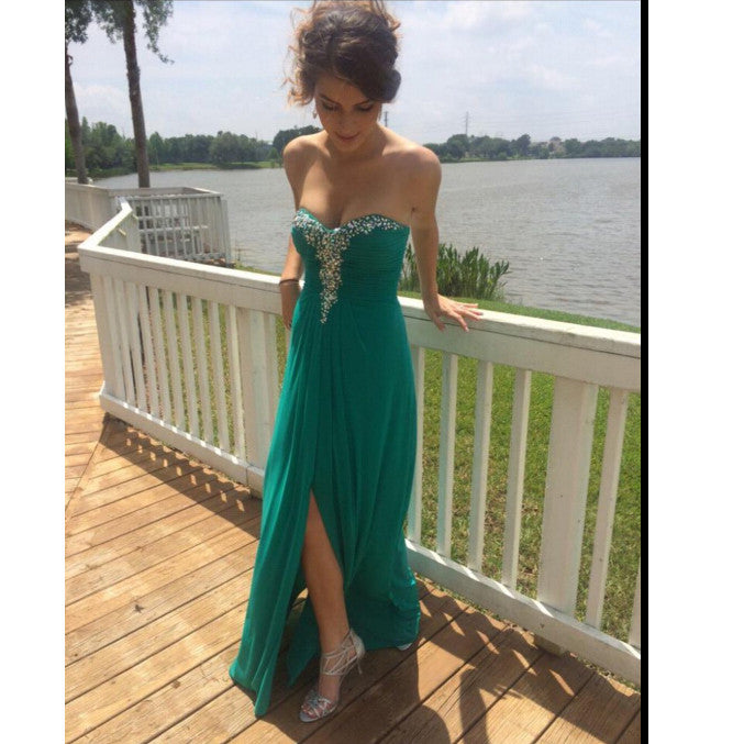 Long Prom Dress Sweet Heart Neckline Evening Party Dress With Slit pst0730