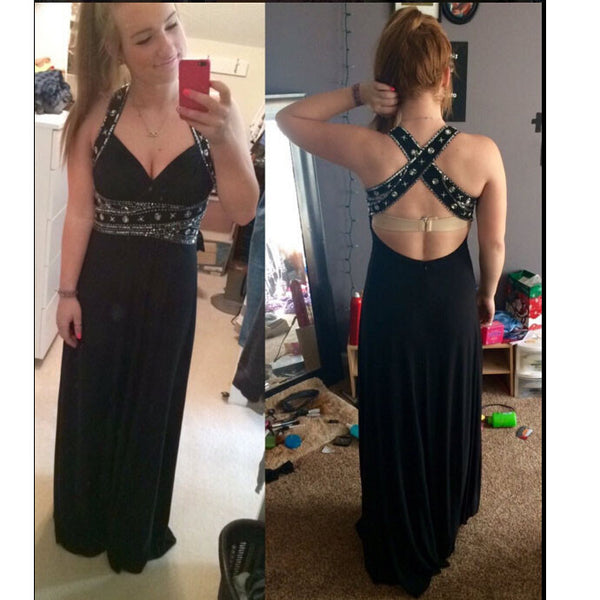 Long Chiffon Prom Dress With Cross Back Strap Evening Party Gown pst0744