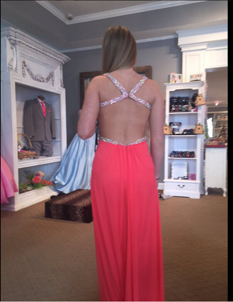 Sexy Backless Red Prom Dress Evening Party Gown pst0753