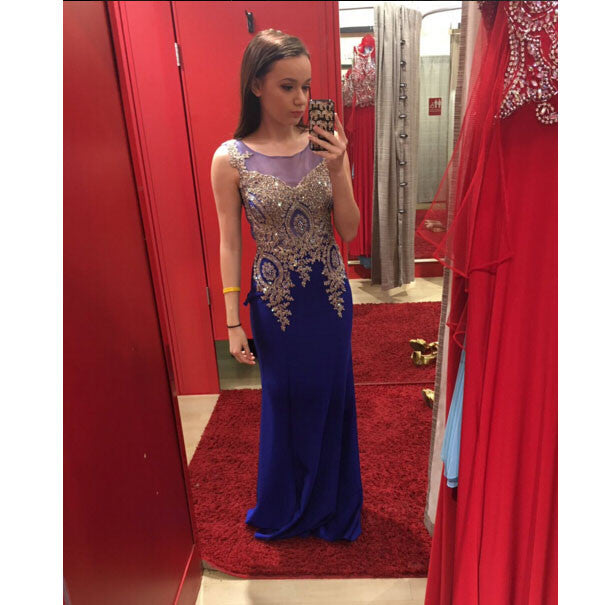 Fashion Royal Blue Prom Dresses Evening Party Dress pst0755