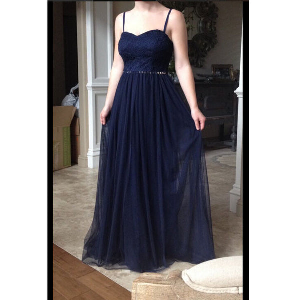 Navy Prom Dress Evening Party Dress with Thin Straps pst0757