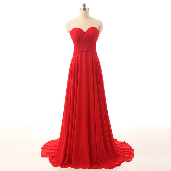 Red Prom Dress Prom Dresses Sweetheart Neckline pst0762