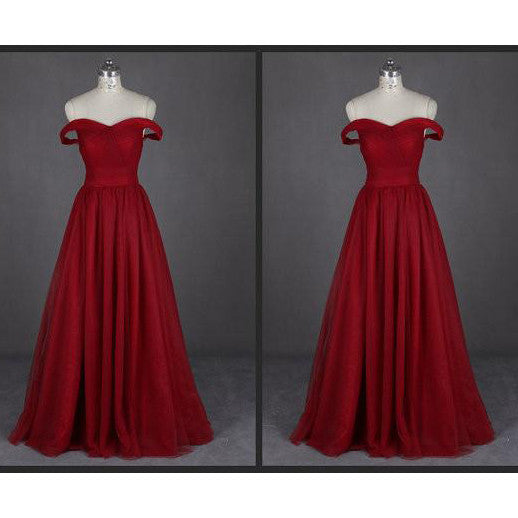 Burgunday Prom Dress Evening Gown Off The Shoulder Straps pst0763