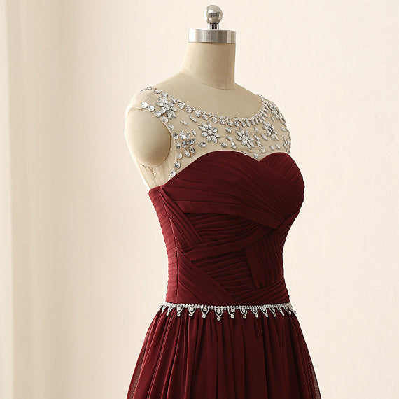 Burgunday Prom Dress With Beading And Stones pst0765