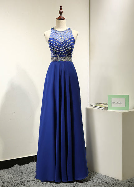2016 Royal Blue Floor Length Beaded Bodice Celebrity Prom Dresses pst0138