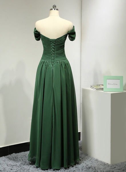 Green Prom Dress Evening Party Dress Off The Shoulder Straps pst0779