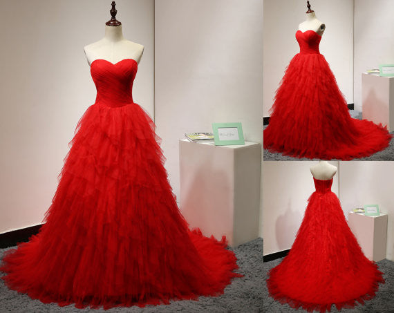 Red Prom Dress Ball Gown pst0783