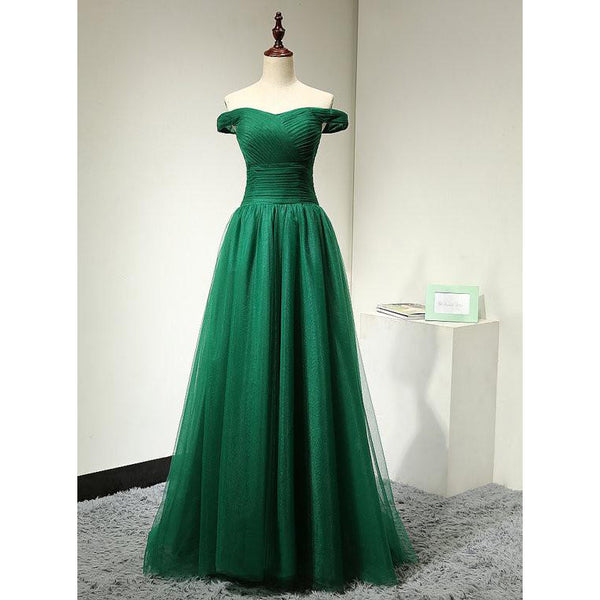 Green Prom Dress Off The Shoulder Straps pst0785