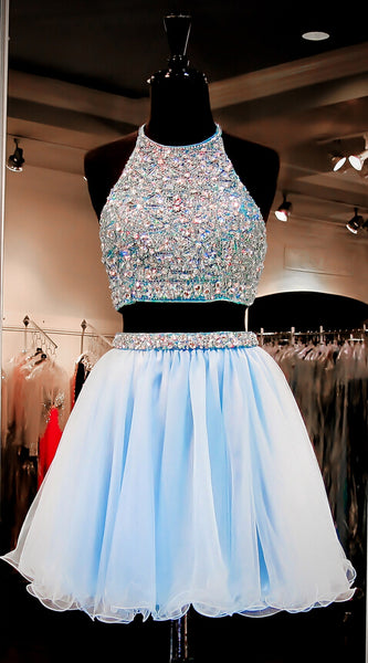 Two Pieces Homecoming Dress High Halter Neckline Short Prom Dress pst0792