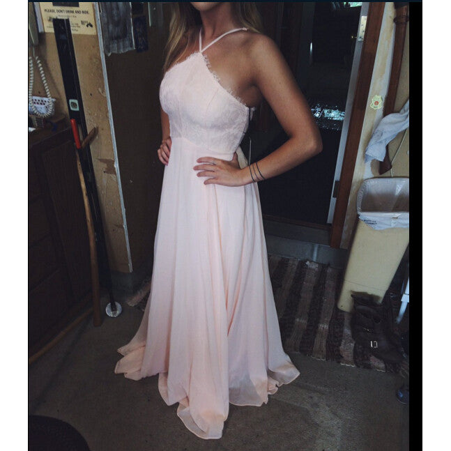 Chiffon Prom Dress with Halter Neckline Evening Party Dresses pst0800